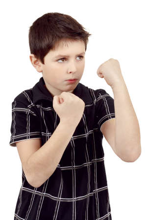 isilated: teen boy boxer trains defence isilated on white Stock Photo