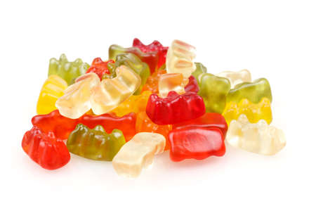 gummie: Gummy bears, Colorful jelly bear candies set isolated on white Stock Photo