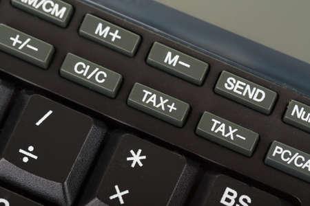 stodio: Keys of the calculator, close-up, stodio shot focus to key tax Stock Photo