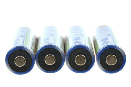 nimh: macro of rechargeable NIMH batteries on white background