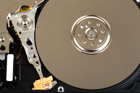 detail of uncovered 2,5 inch notebook hard drive  Stock Photo