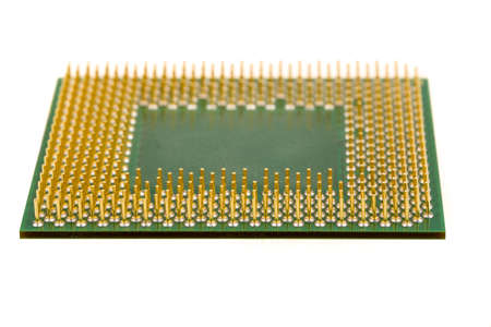intel: macro of computer processor isolated on white