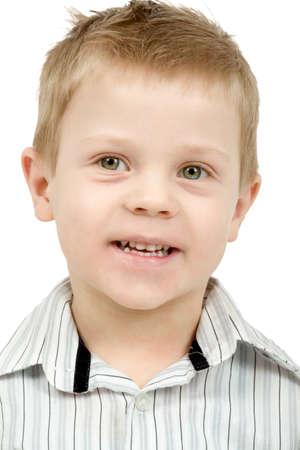 ��beautiful boy�: Studio portrait of young beautiful boy on white background
