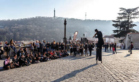 praga: PRAGUE, CZECH REPUBLIC - MARCH 13th, 2014 - Street artist with violin on prague castle square Editorial