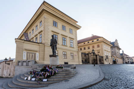 PRAGUE, CZECH REPUBLIC - MARCH 13th, 2014 - Monument, of, Tomas, Garrique, Masaryk, on, Hradcany, Square.