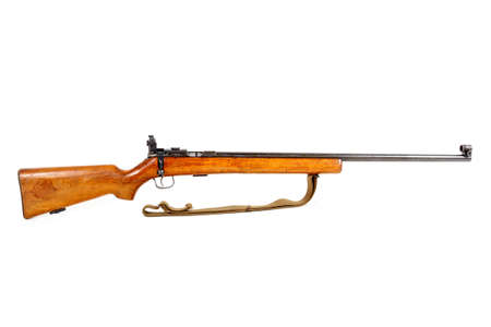 enfield: old bolt action rifle isolated on white background