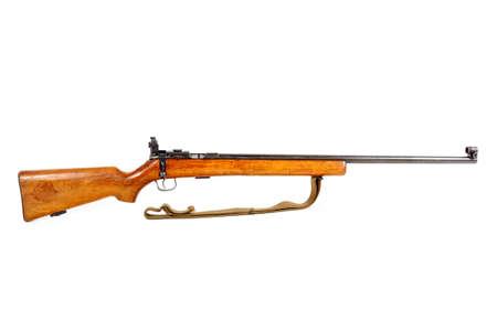 vintage riffle: old bolt action rifle isolated on white background