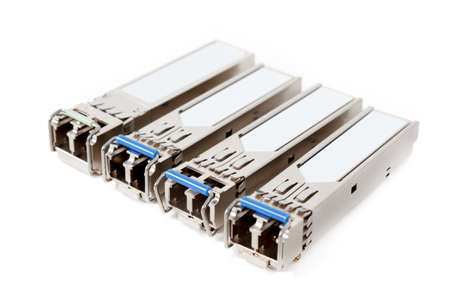 Optical gigabit sfp modules for network switch isolated on the white background