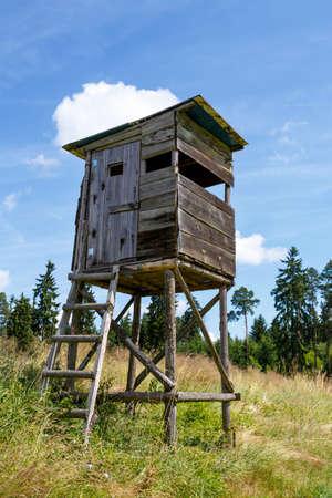 Wooden Hunters High Seat in rural Landscape, Czech Republic Scenery  photo