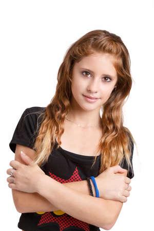 cute teen girl: Студия моды портрет молодой красивой улыбкой девушка с красивыми глазами на белом фоне Фото со стока