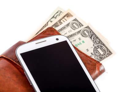 cash money: tel�fono celular y dinero en blanco, el concepto de dinero, cara factura Foto de archivo