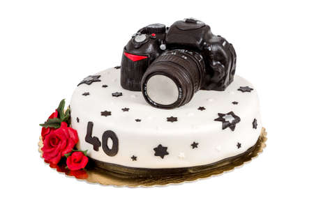 birthday cake for forty anniversary with modern DSLR photo camera isolated on white photo