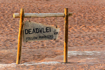 tourist signpost to Hidden Vlei in Namib desert , this is best place in Namibia