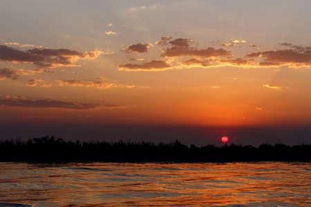chobe: African sunset on Chobe river, Chobe national park, Botswana Stock Photo