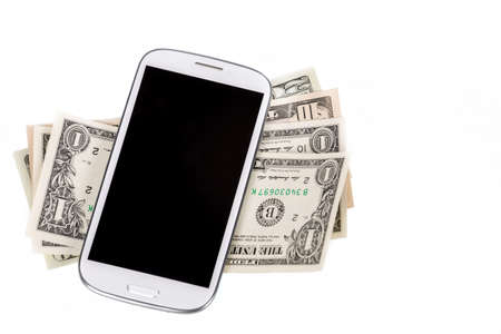 cell phones: cellphone and money on white, money concept, expensive bill