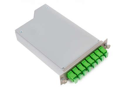 sc: Fiber optic cassette with green singlemode SC connectors isolated on white