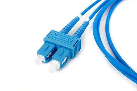 duplex: blue fiber optic duplex SC connector patchcord on white background