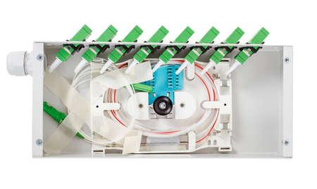 splitter: Fiber optic cassette or box with green singlemode SC connectors isolated on white Stock Photo