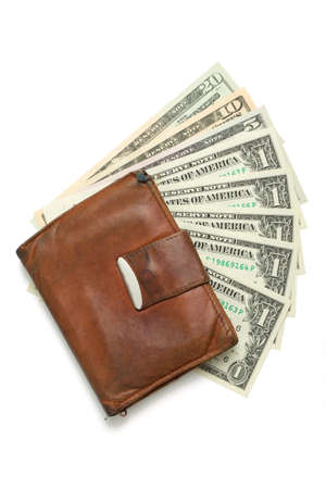 leather wallet with money banknotes US dolars nominal value one, five, ten and twenty isolated on white photo