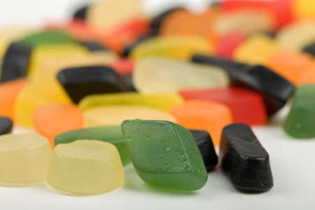 gummie: Colorful jelly sweet candies set with shallow focus Stock Photo