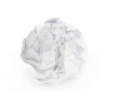 creasy: close-up of crumpled paper ball on white background Stock Photo