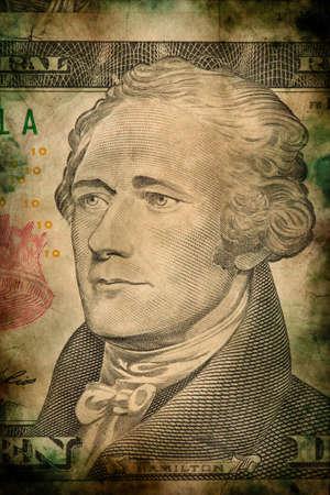 alexander hamilton: Macro di Alexander Hamilton su dieci USA banconota da un dollaro grunge stile vintage
