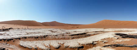 vlei: wide panorama of beautiful sunrise landscape of hidden Dead Vlei in Namib, blue sky, best place of Namibia