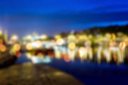 lighhts: Blured lights from night Prague, view from river Vltava