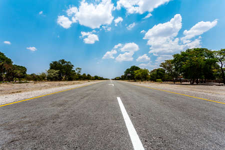endless road: Endless road in Namibia, Caprivi Game Park, with blue sky Stock Photo