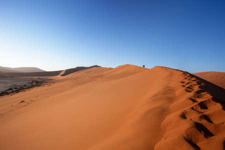 shaddow: dune in Dead Vlei in Namib desert, best place of Namibia