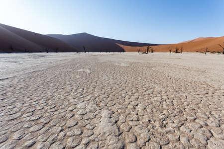 fallecimiento: hermoso paisaje de la salida del sol escondido Vlei muerto en el desierto de Namib con �rboles de acacia muertos, el mejor lugar de Namibia Foto de archivo
