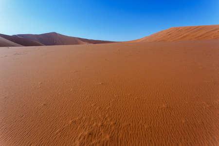 shaddow: beautiful sunrise landscape of hidden Dead Vlei in Namib desert, best place of Namibia Stock Photo
