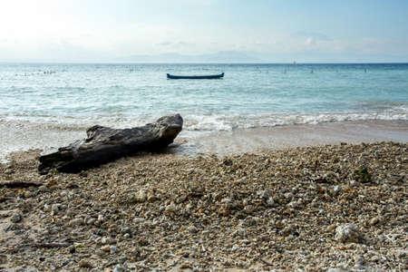 nusa: dream beach, Bali Indonesia, Nusa Penida island with blue sky and boat Stock Photo