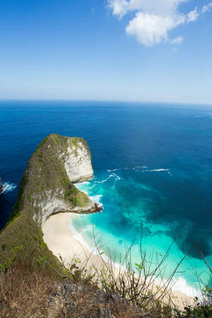 dream beach on coastline at Bali, Manta Point famous Diving place, Nusa Penida with blue sky