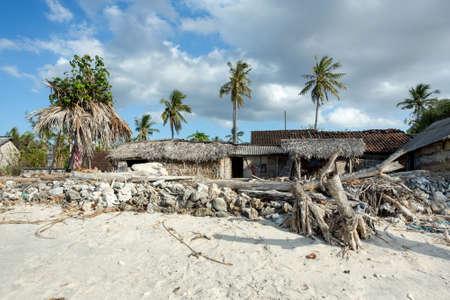 indigence: traditional indonesian poor house - cabin on beach, Nusa Penida Island, Toyapakeh Stock Photo