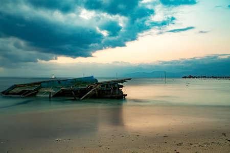 bali beach: Bali beach, Nusa Penida Island, Toyapakeh, Indonesia - long exposure shoot at evening with dramatic sky