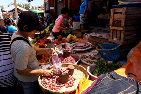 sulawesi: SULAWESI, INDONESIA - AUGUST 8.2015:, Traditional Marketplace with local vegetable in Tomohon City, Sulawesi,August 8. 2015 Sulawesi, Indonesia.