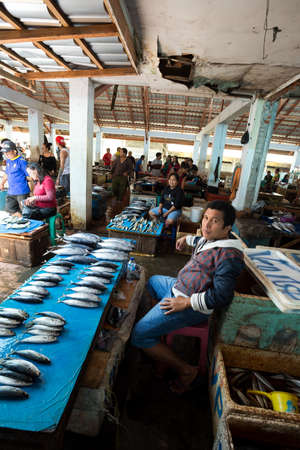 sulawesi: SULAWESI, INDONESIA - AUGUST 8.2015:, Traditional Marketplace with dried fish in Tomohon City, Sulawesi,August 8. 2015 Sulawesi, Indonesia.