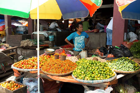 sulawesi: SULAWESI, INDONESIA - AUGUST 8.2015:, Traditional Marketplace with local fruit in Tomohon City, Sulawesi,August 8. 2015 Sulawesi, Indonesia.