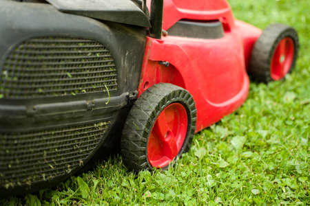 outside machines: red lawnmower on green grass in cloudy day