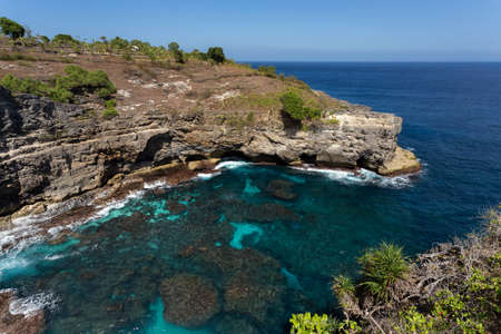 dream coastline at Bali, near Manta Point famous Diving place, Nusa Penida with blue sky