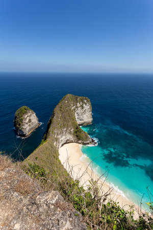 nusa: dream beach on coastline at Bali, Manta Point famous Diving place, Nusa Penida with blue sky