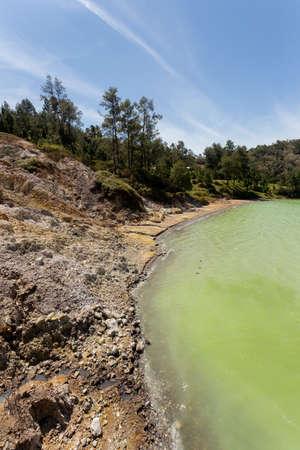 sulawesi: Famous tourist attraction sulphurous lake - Danau Linow, North Sulawesi Indonesia Stock Photo
