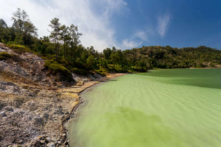 Famous tourist attraction sulphurous lake - Danau Linow, North Sulawesi Indonesia Stock Photo