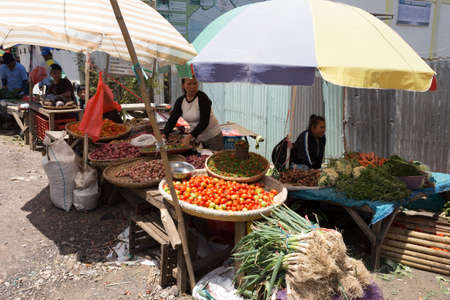 sulawesi: SULAWESI, INDONESIA - AUGUST 8.2015:, Traditional Marketplace with local fruit and vegetables in Tomohon City, Sulawesi,August 8. 2015 Sulawesi, Indonesia.
