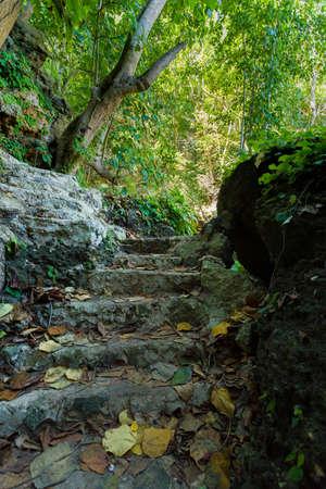 nusa: Stone staircase leading on Tembeling pool, Nusa Penida Bali Indonesia