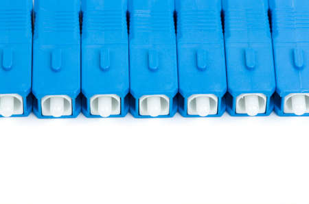 sc: blue fiber optic SC connectors with reflection isolated on white background Stock Photo