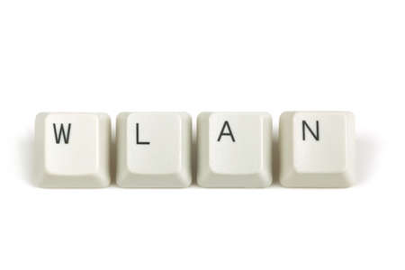 wlan: wlan text from scattered keyboard keys isolated on white background Stock Photo