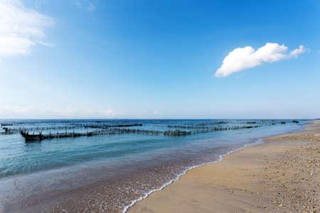 nusa: dream sand beach, Bali Indonesia, Nusa Penida island with blue sky