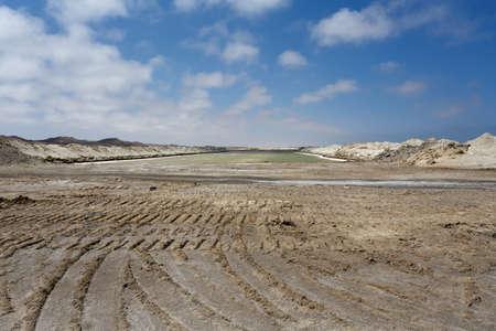 salina: salt mineral mining in Namibia near Cape Cross Stock Photo